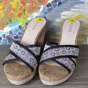 🆕 guess slip-on wedge wicker cork heels sandals